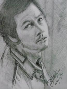 Free Stock Photo of Pencil Drawing Portrait of Jung Woo‑sung on Korean Movie Daisy