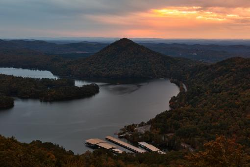 Free Stock Photo of Autumn Sprinkle Sunset - Lake Ocoee