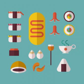 Free Stock Photo of Japanese Food Vector Icons