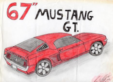 Free Stock Photo of 67 Ford Mustang Drawing