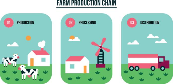 Free Stock Photo of Farm Production Chain Illustration