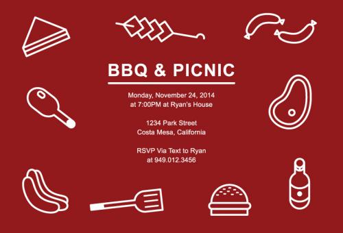 Free Stock Photo of Barbecue and Picnic Party Invitation