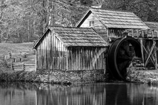 Free Stock Photo of Mabry Monochrome Mill