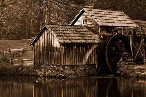 Free Stock Photo of Mabry Monochrome Mill - Sepia Nostalgia
