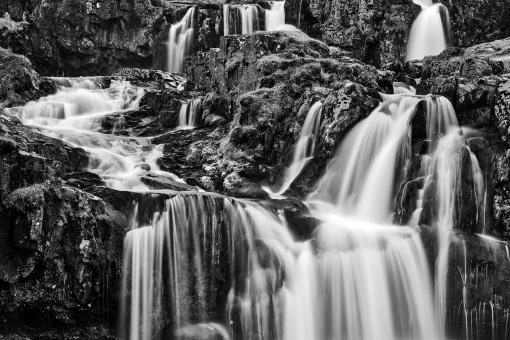Free Stock Photo of Kirkjufellsfoss Choir Cascades - Black & White
