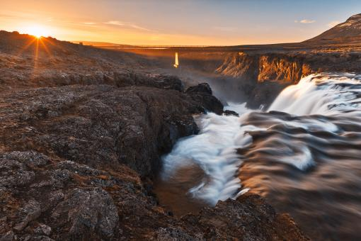 Free Stock Photo of Kolufoss Sunset