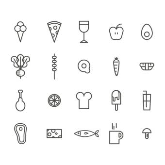 Free Stock Photo of Outlined Food Vector Icons