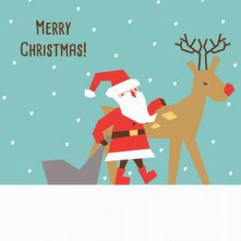 Free Stock Photo of Santa and Reindeer Illustration