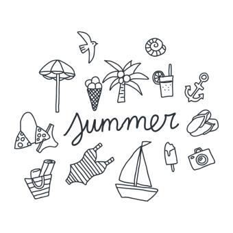 Free Stock Photo of Black and White Summer Doodles