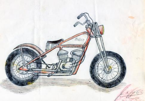 Free Stock Photo of Hand Drawn Motorcycle