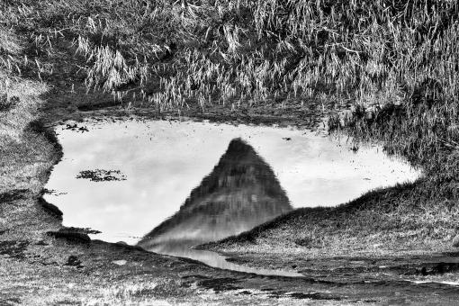 Free Stock Photo of Abstract Kirkjufell Reflection - Black & White