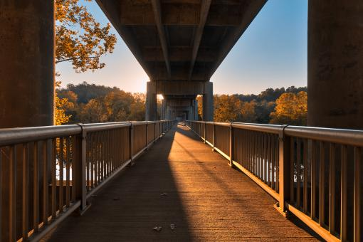 Free Stock Photo of Golden Hour Bridge - James River