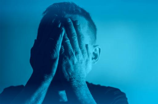 Free Stock Photo of Depression - Sadness - Despair - Man with Hands Covering Face - Blue