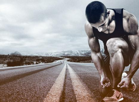Free Stock Photo of Hit the Road - A Man Prepares to Run - Running