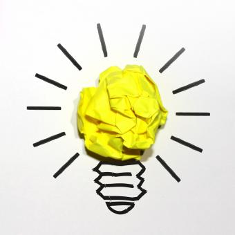Free Stock Photo of Idea Concept with Yellow Crumpled Paper