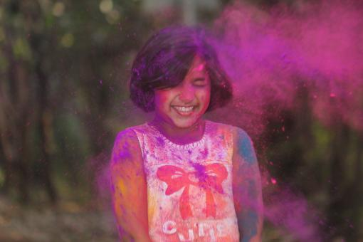 Free Stock Photo of Young Girl Covered in Pink Powder