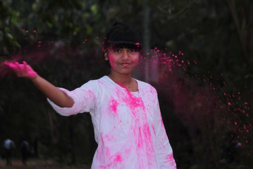 Free Stock Photo of Young Girl with Pink Powder