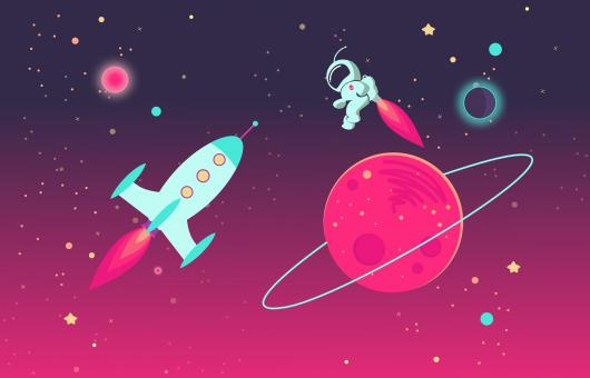 Free Stock Photo of Cartoon Astronaut and Rocket in Outer Space