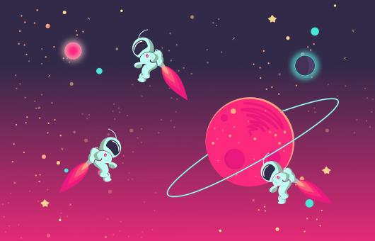 Free Stock Photo of Cartoon Astronauts Playing With Each Other in Outer Space