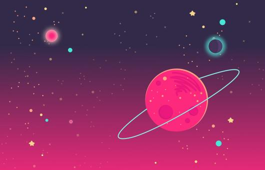 Free Stock Photo of Deep Colorful Outer Space - Cartoon Illustration