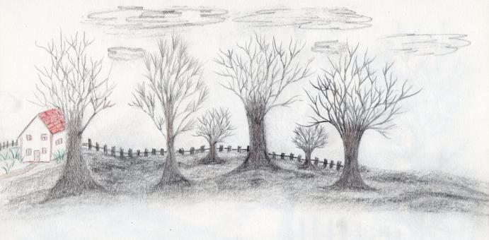 Free Stock Photo of Hand drawn landscape and trees