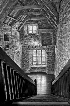 Free Stock Photo of Donegal Castle Staircase - Black & White