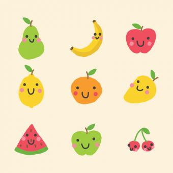 Free Stock Photo of Vector Fruit Icons with Happy Faces