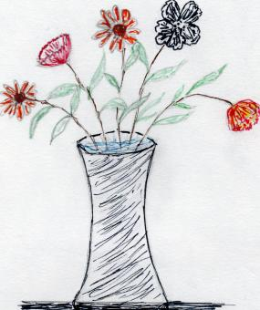 Free Stock Photo of Flower Vase - Hand drawn art