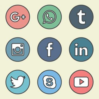 Free Stock Photo of Outlined Colorful Social Media Icons