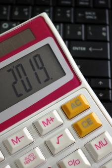Free Stock Photo of 2019 on a Calculator Screen on a Computer Keyboard