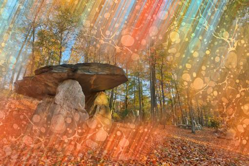 Free Stock Photo of Autumn Dolmen Wonderland