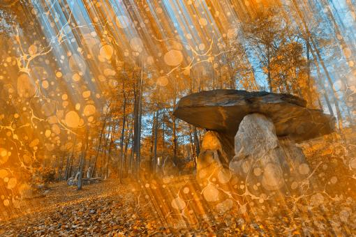 Free Stock Photo of Golden Dolmen Wonderland