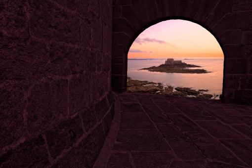Free Stock Photo of Saint-Malo Twilight Archway