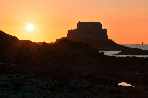 Free Stock Photo of Saint-Malo Fort Sunset