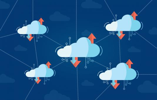 Free Stock Photo of Interconnected Virtual Cloud Concept with Multiple Clouds