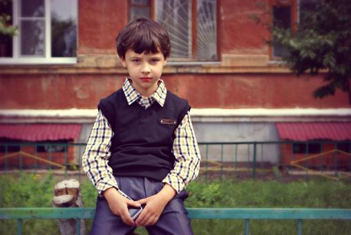 Free Stock Photo of Young Boy in School Uniform
