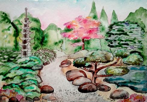 Free Stock Photo of Japanese Garden Watercolor Painting