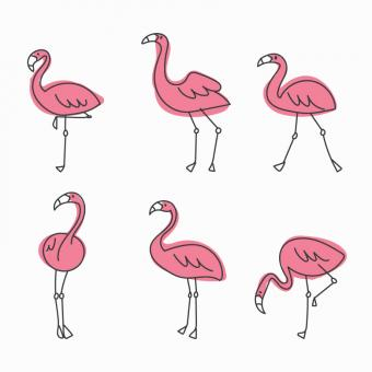 Free Stock Photo of Cute Vector Flamingos
