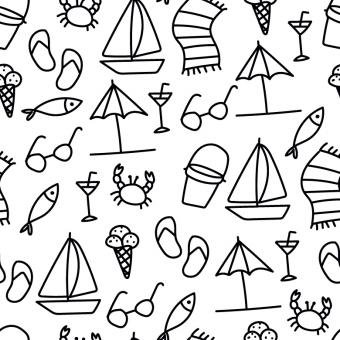 Free Stock Photo of Black and White Summer Vector Pattern