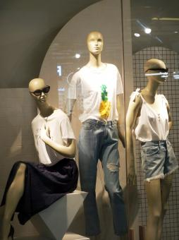 Free Stock Photo of Group of female fashion mannequins