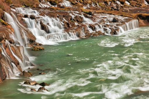 Free Stock Photo of Hraunfossar River Cascades