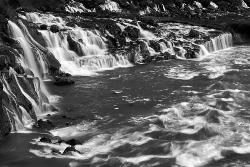 Free Stock Photo of Hraunfossar River Cascades - Black & White