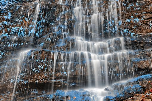 Free Stock Photo of Blue Moss Wall Waterfall