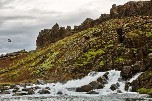 Free Stock Photo of Rugged Iceland Moss Stream