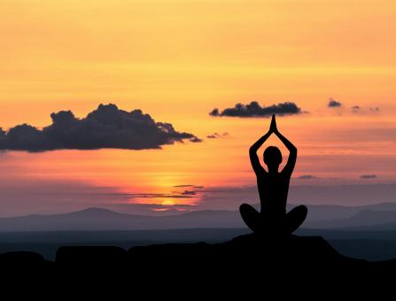 Free Stock Photo of Yoga Pose at Sunset