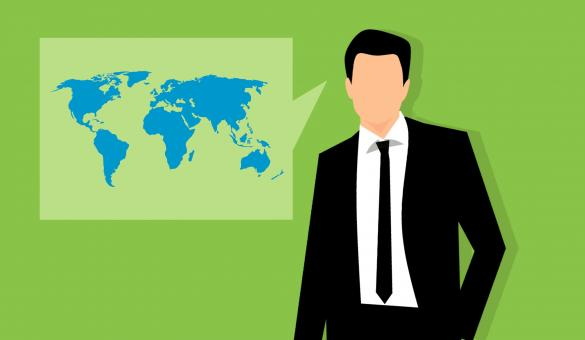 Free Stock Photo of World Map and Businessman