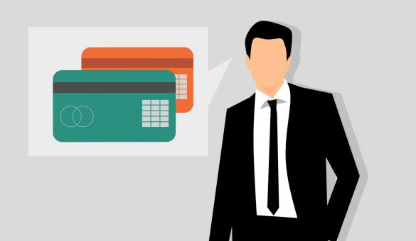 Free Stock Photo of Credit Cards and Businessman Illustration