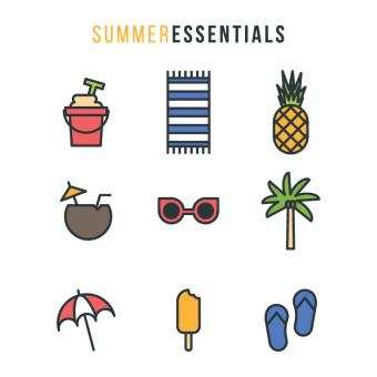 Free Stock Photo of Summer Essential Icons Set