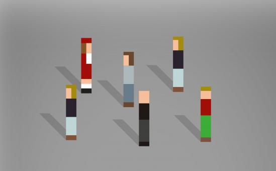 Free Stock Photo of Abstract Pixelated People Passing By