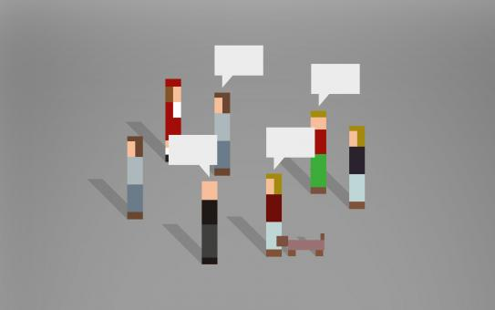Free Stock Photo of Abstract Pixelated People Speaking With Each Other